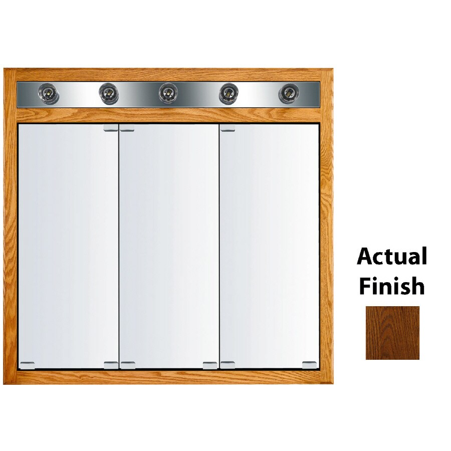 KraftMaid Formal 35-in x 33-in Square Surface/Recessed Mirrored Wood Medicine Cabinet with Light