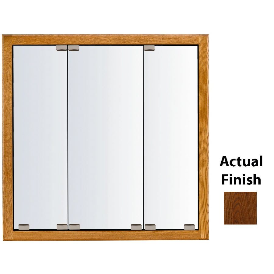 KraftMaid Formal 29-in x 28-in Square Surface/Recessed Mirrored Wood Medicine Cabinet
