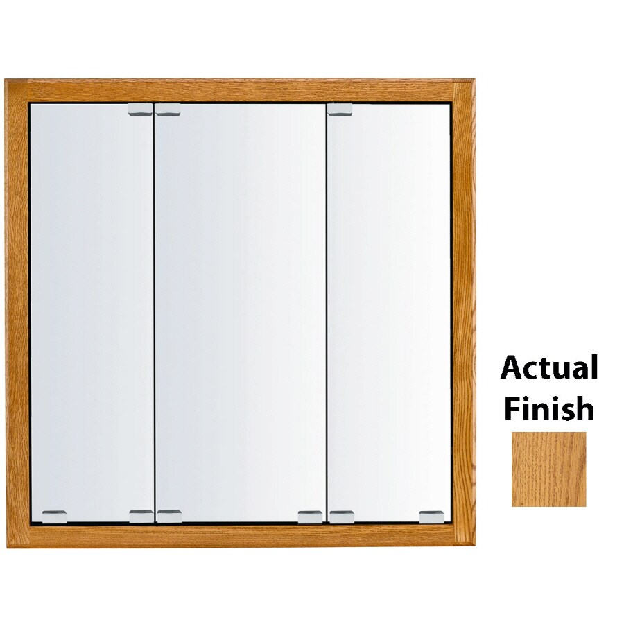 KraftMaid Formal 47-in x 28-in Square Surface/Recessed Mirrored Wood Medicine Cabinet