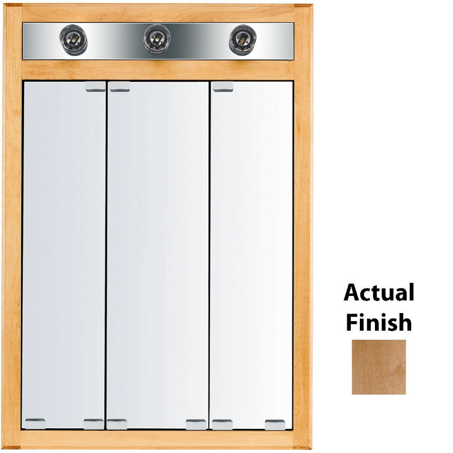 KraftMaid Traditional 24-in x 35-in Square Surface/Recessed Mirrored Wood Medicine Cabinet with Lights