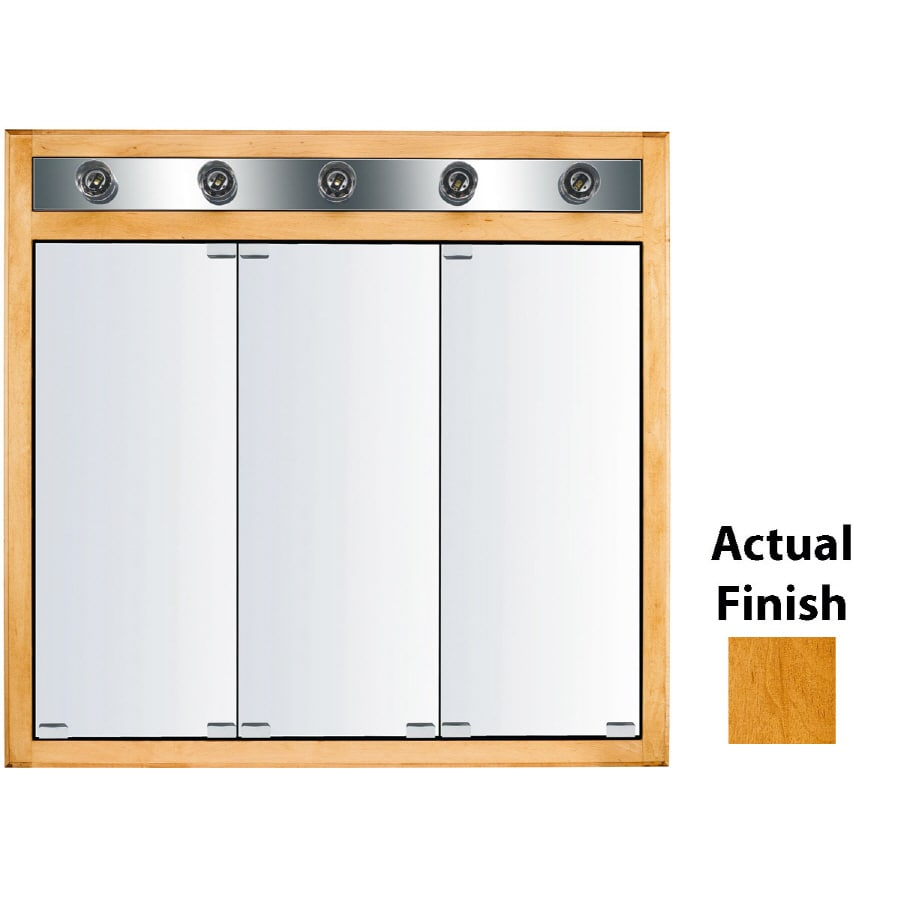 KraftMaid Traditional 35-in x 33-in Square Surface/Recessed Mirrored Wood Medicine Cabinet Lighted