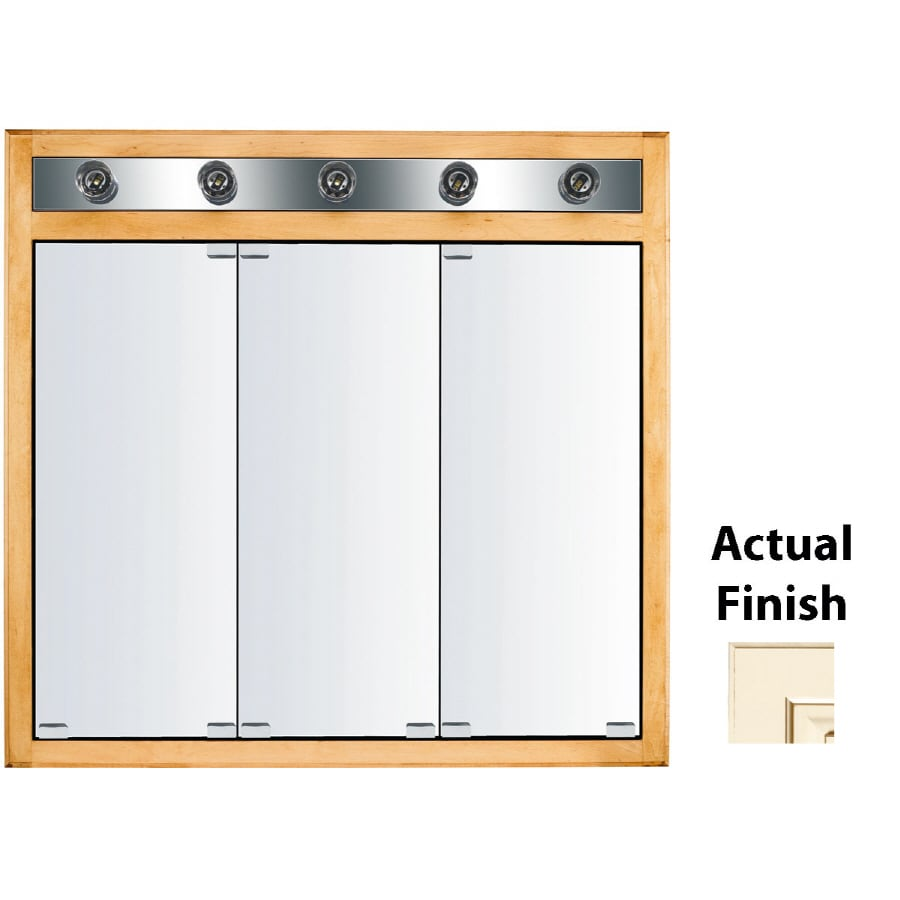 KraftMaid Traditional 35-in x 33-in Square Surface/Recessed Mirrored Wood Medicine Cabinet with Lights