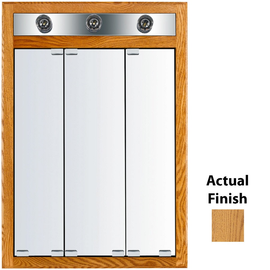 KraftMaid Cottage 24-in x 35-in Square Surface/Recessed Mirrored Wood Medicine Cabinet Lighted