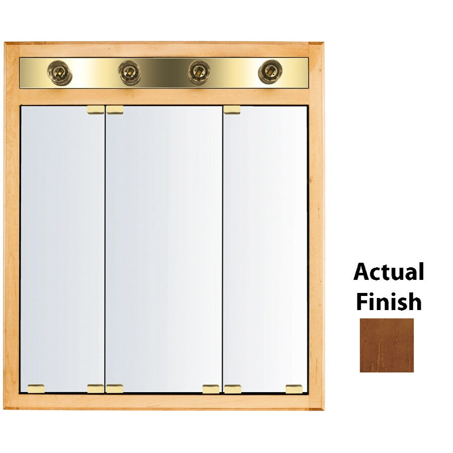 Shop Kraftmaid Classic 30 In X 35 In Square Surface Recessed Mirrored Wood Medicine Cabinet With