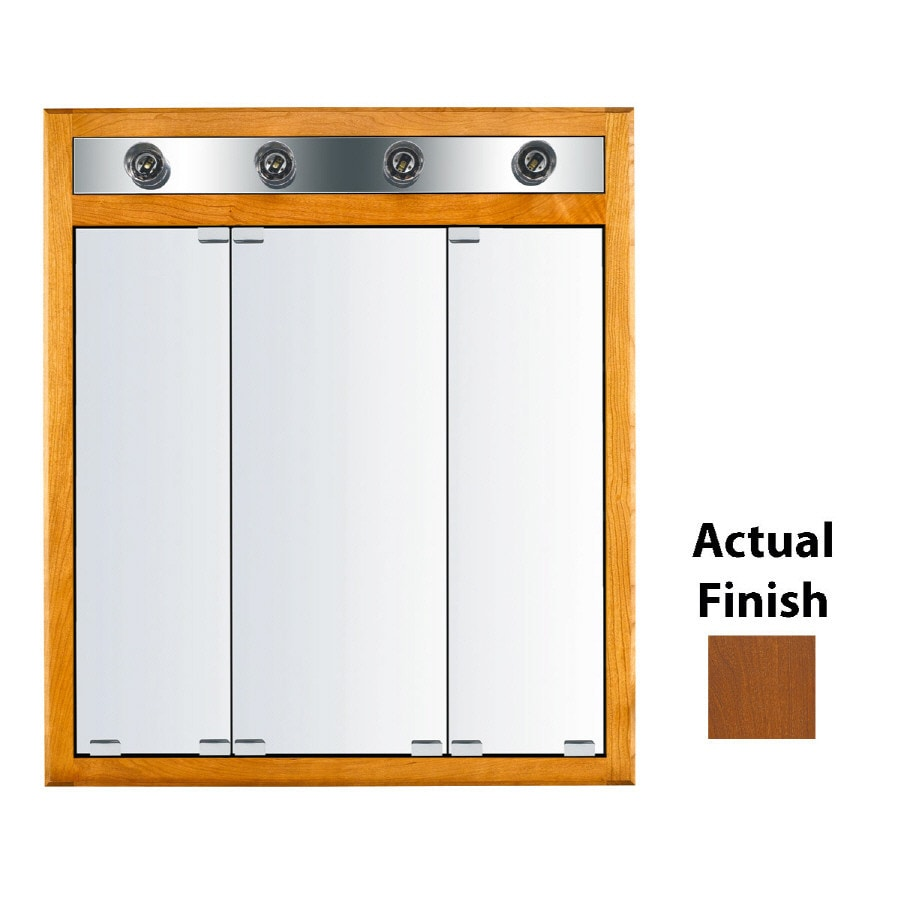 KraftMaid Classic 30-in x 35-in Square Surface/Recessed Mirrored Wood Medicine Cabinet Lighted