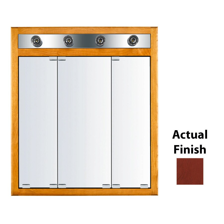 KraftMaid Classic 30-in x 35-in Square Surface/Recessed Mirrored Wood Medicine Cabinet with Lights