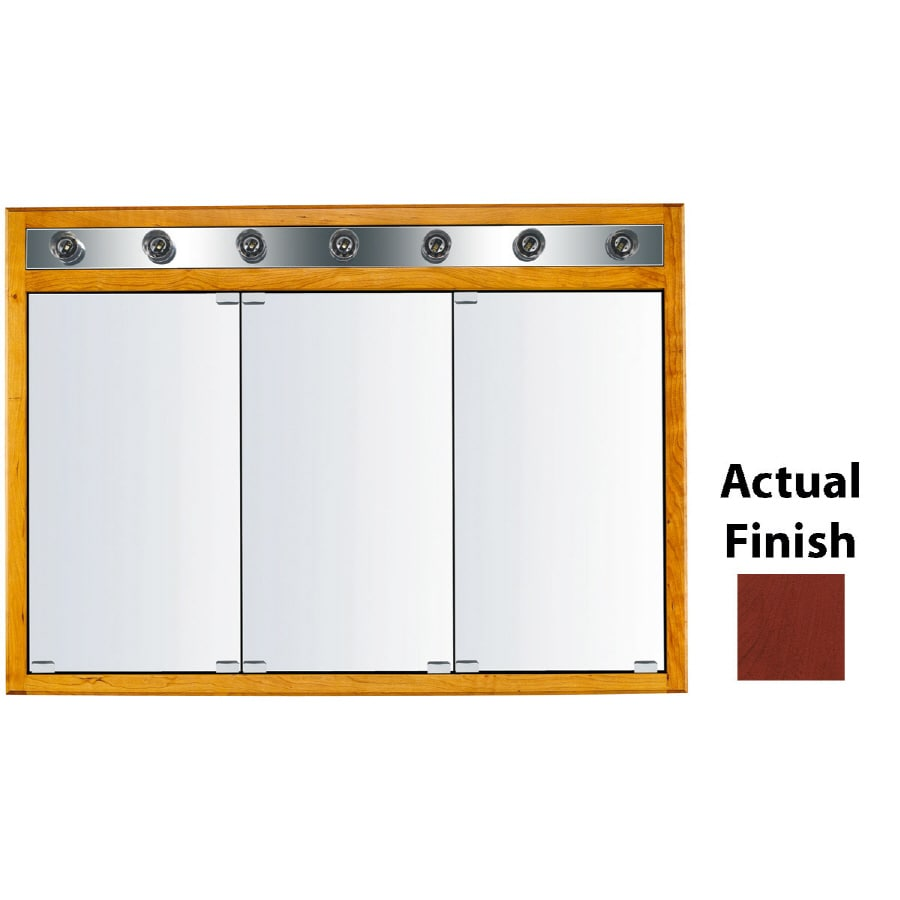 KraftMaid Classic 47-in x 33-in Square Surface/Recessed Mirrored Wood Medicine Cabinet with Light