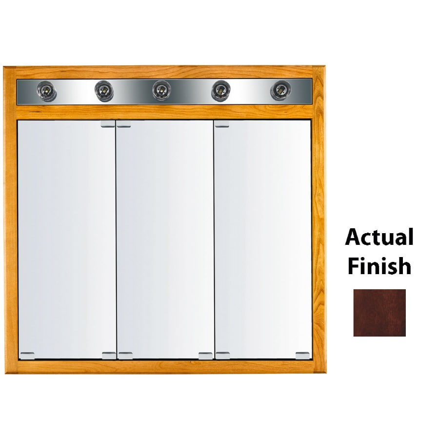 KraftMaid Formal 35-in x 33-in Square Surface/Recessed Mirrored Wood Medicine Cabinet