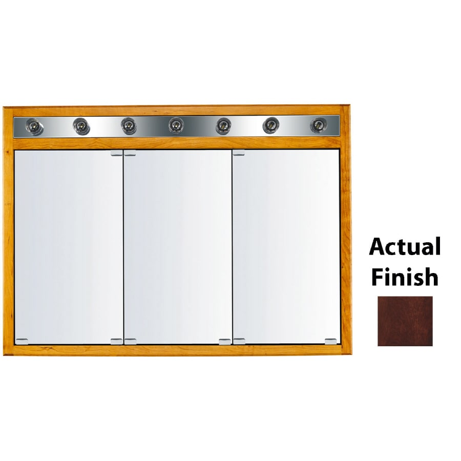 KraftMaid Formal 47-in x 33-in Square Surface/Recessed Mirrored Wood Medicine Cabinet Lighted