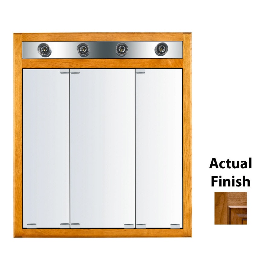 Kraftmaid Formal 30 In X 35 Square Surface Recessed Mirrored Wood Medicine Cabinet With Light