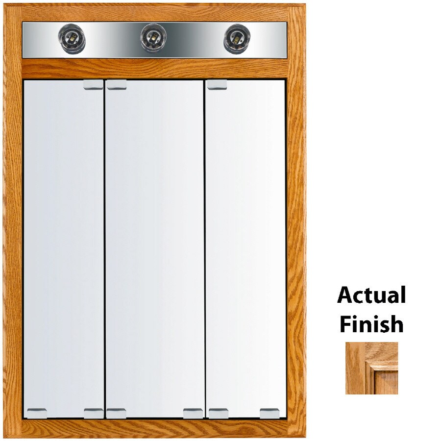KraftMaid Cottage 24-in x 35-in Square Surface/Recessed Mirrored Wood Medicine Cabinet with Light