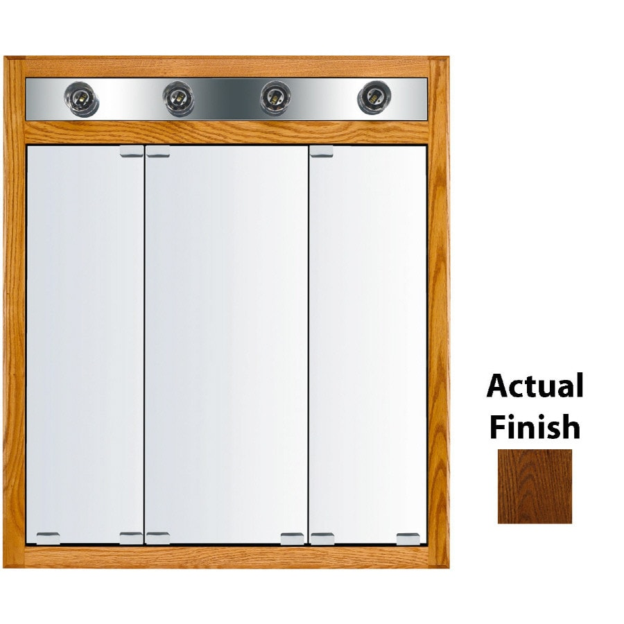 KraftMaid Cottage 30-in x 35-in Square Surface/Recessed Mirrored Wood Medicine Cabinet Lighted