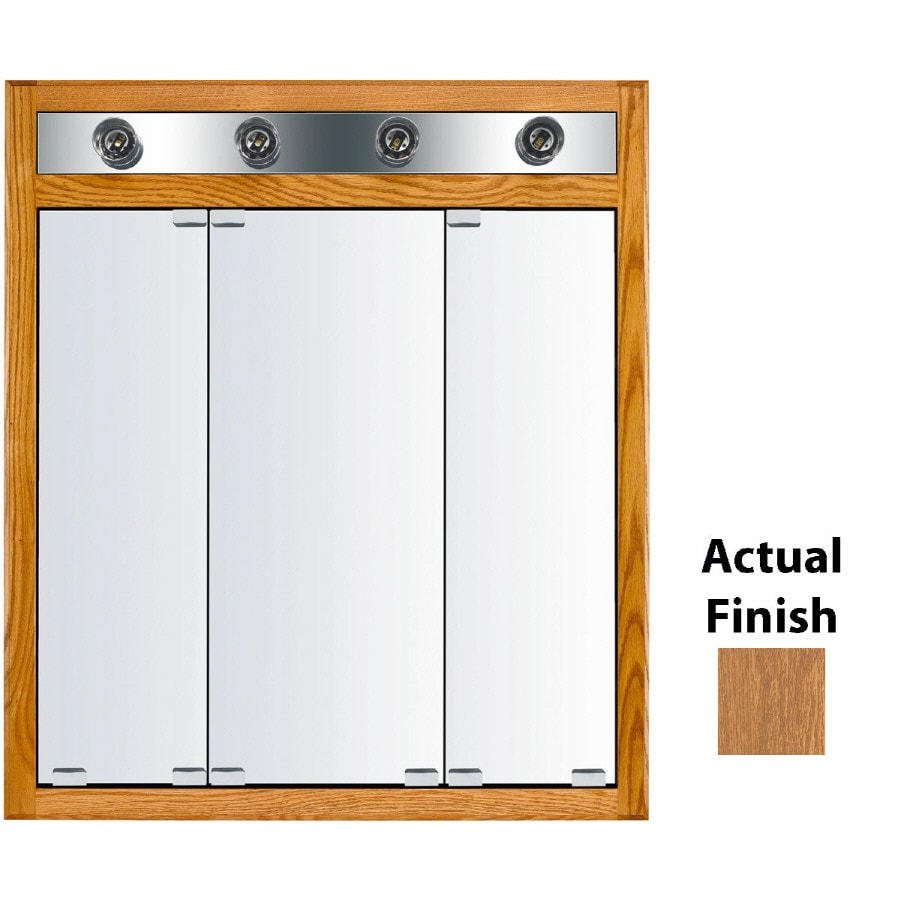 KraftMaid Cottage 30-in x 35-in Square Surface/Recessed Mirrored Wood Medicine Cabinet with Light