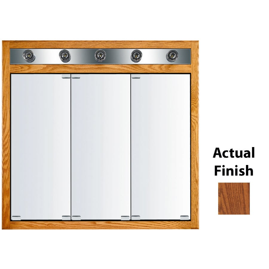 KraftMaid Cottage 35-in x 33-in Square Surface/Recessed Mirrored Wood Medicine Cabinet with Lights
