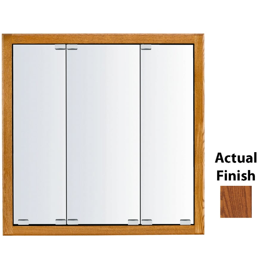 KraftMaid Cottage 36-in x 30-in Square Surface/Recessed Mirrored Wood Medicine Cabinet