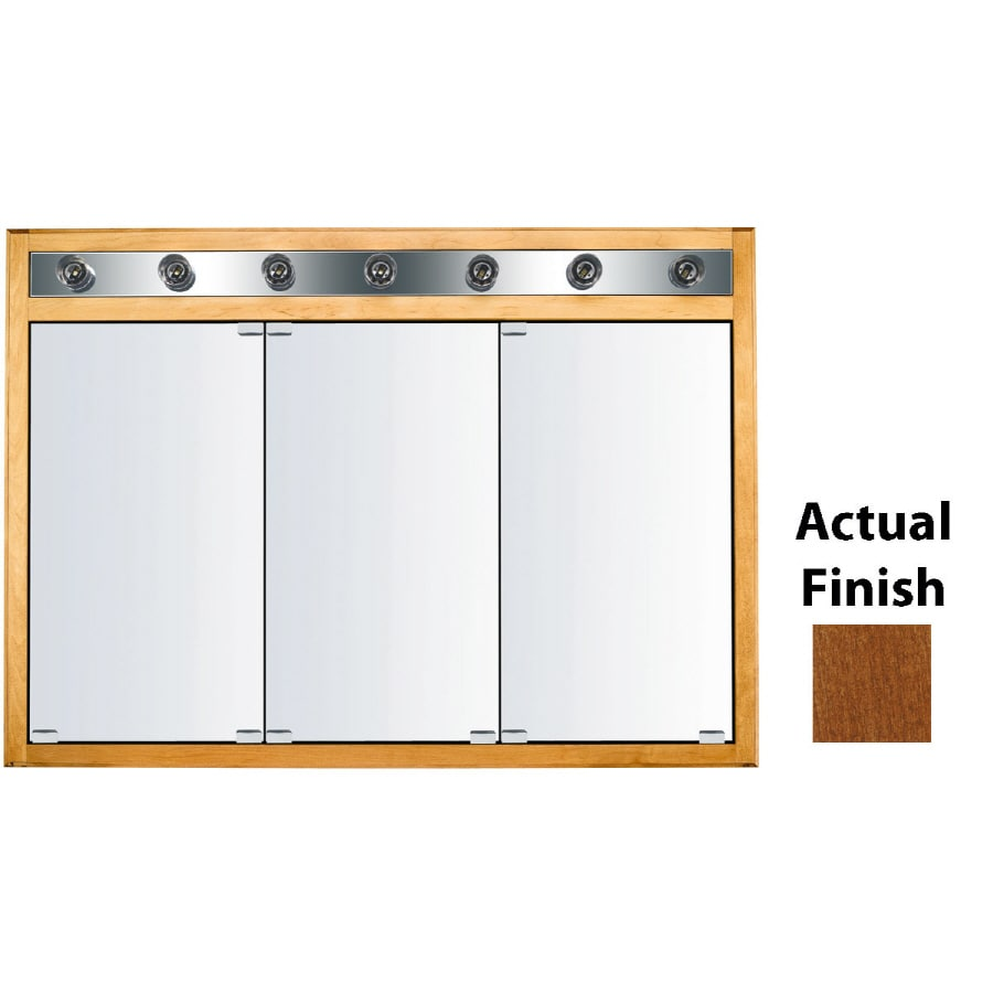 KraftMaid Cottage 47-in x 33-in Square Surface/Recessed Mirrored Wood Medicine Cabinet with Lights