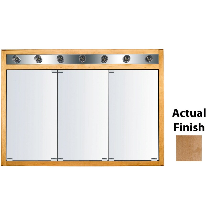KraftMaid Cottage 47-in x 33-in Square Surface/Recessed Mirrored Wood Medicine Cabinet Lighted