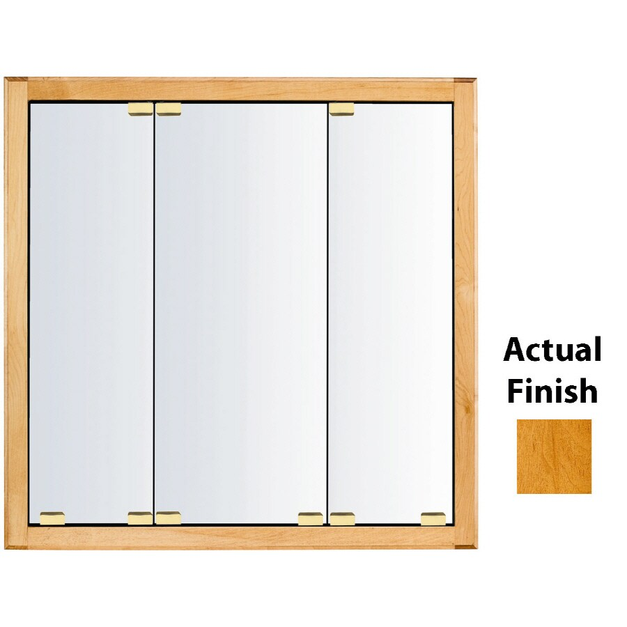Shop Kraftmaid Cottage 23 In X 28 In Square Surface Recessed Mirrored Wood Medicine Cabinet At