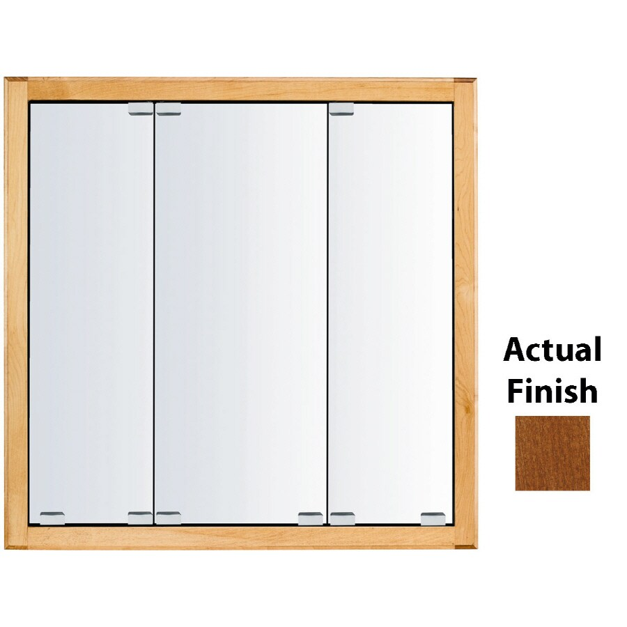 KraftMaid Cottage 23-in x 28-in Square Surface/Recessed Mirrored Wood Medicine Cabinet