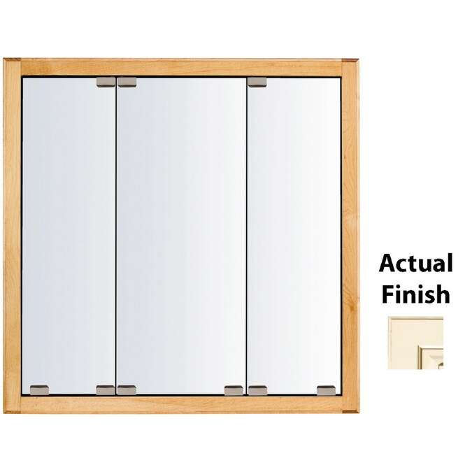 Kraftmaid Cottage 29 In X 28 In Square Surface Recessed Mirrored Wood Medicine Cabinet In The