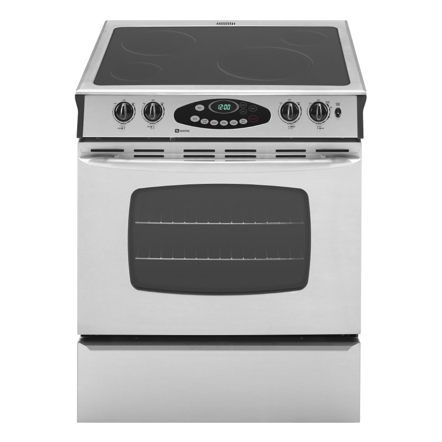 shop maytag 30 in smooth surface slide in electric range stainless steel at. Black Bedroom Furniture Sets. Home Design Ideas