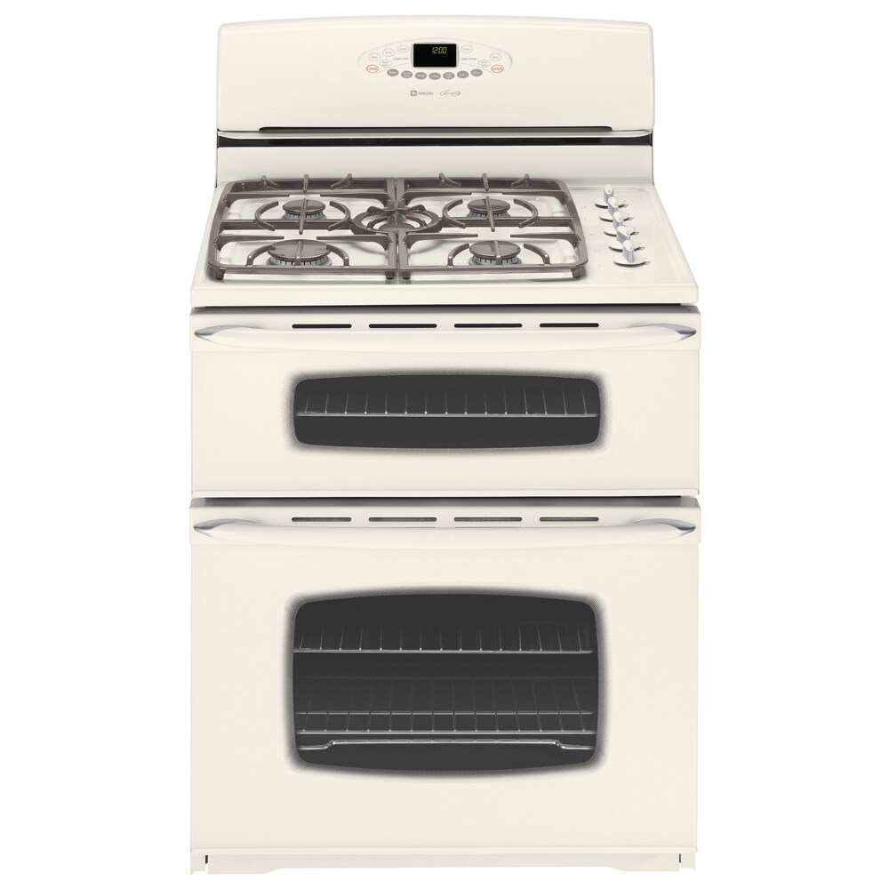 maytag 30inch doubleoven free standing gas range color bisque - Gas Range Double Oven