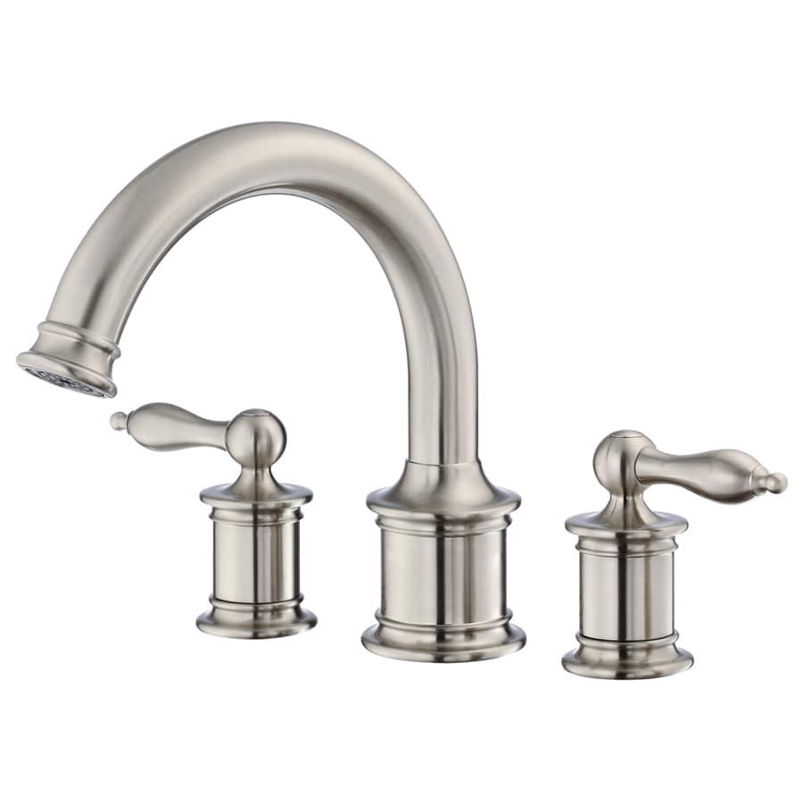 brushed nickel 2 handle adjustable deck mount bathtub faucet at lowes