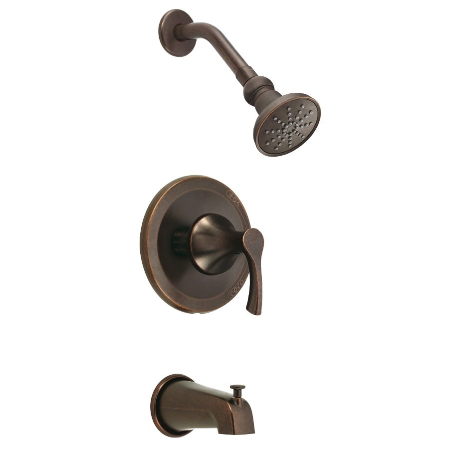 Danze Antioch Tumbled Bronze 1-Handle Bathtub and Shower Faucet Trim Kit with Single Function Showerhead
