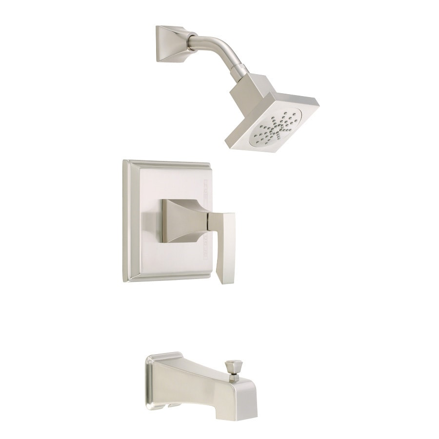 Danze Logan Square Brushed Nickel 1-Handle Bathtub and Shower Faucet Trim Kit with Single Function Showerhead