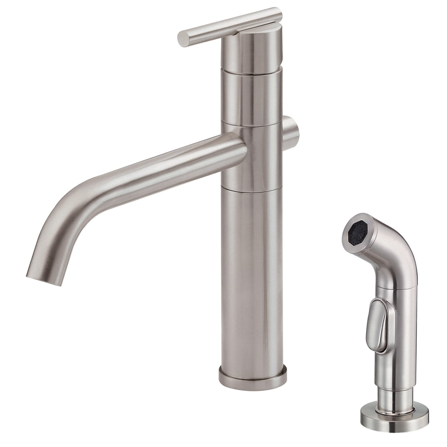 Danze Parma Stainless Steel 1-Handle Low-Arc Kitchen Faucet with Side Spray