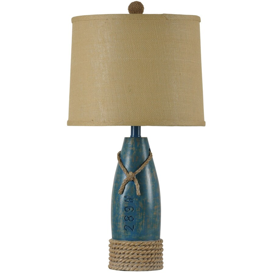 StyleCraft Home Collection 26 In Sea Blue Standard 3 Way Switch Table Lamp  With