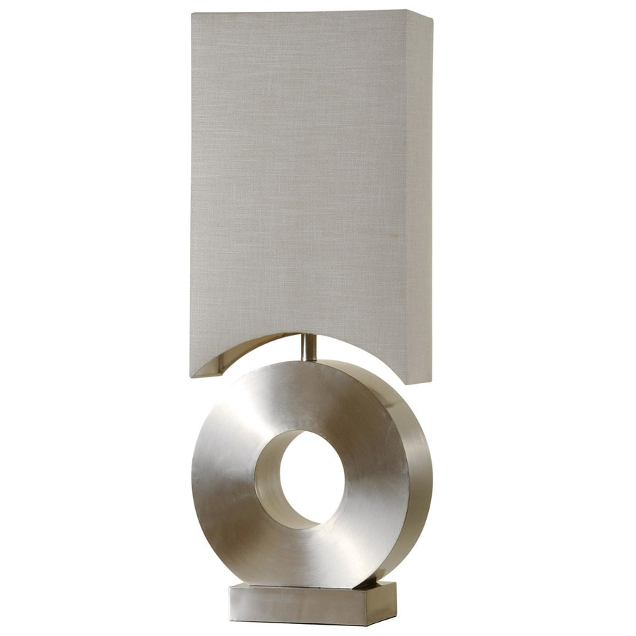 StyleCraft Home Collection 37-in Brushed Steel Standard 3-Way Switch Table Lamp with Fabric Shade