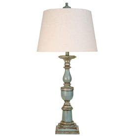 StyleCraft Home Collection 37 In Avignon Blue Standard 3 Way Switch Table Lamp With