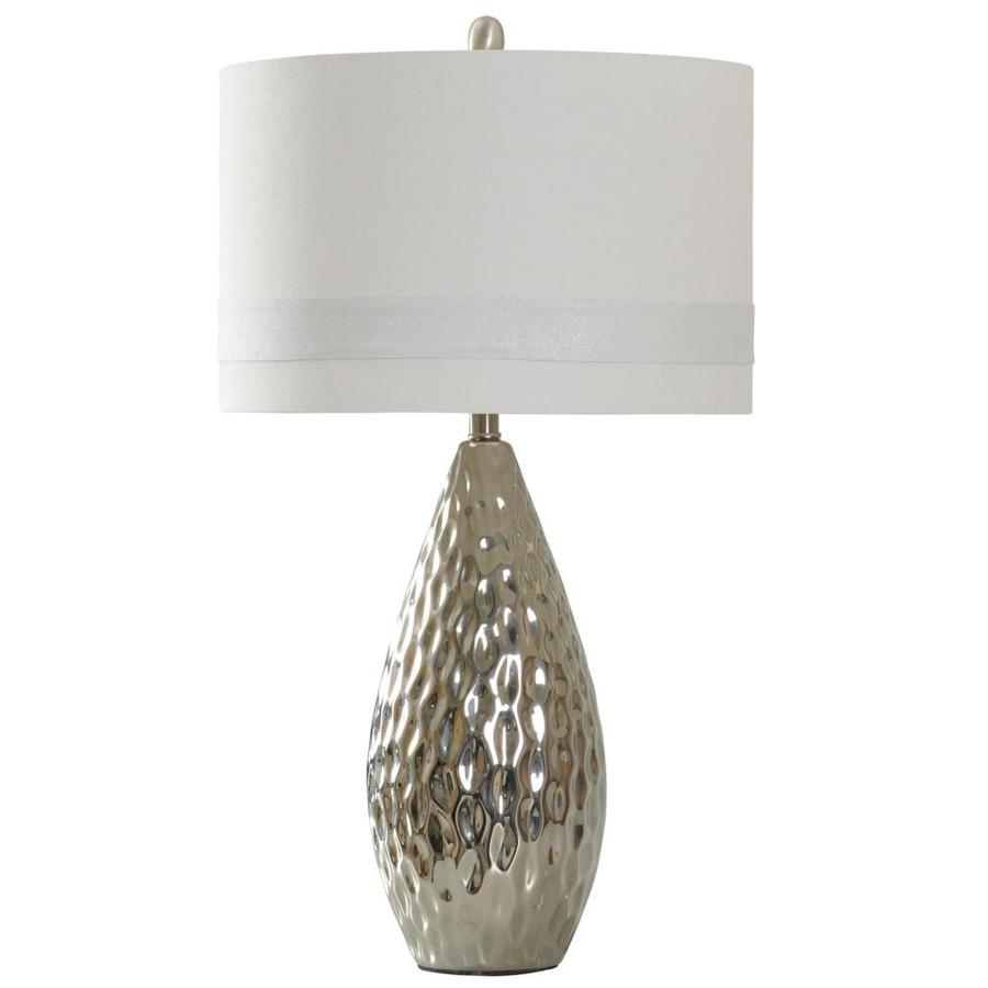 StyleCraft Home Collection 31-in Silver Standard 3-Way Switch Table Lamp with Fabric Shade