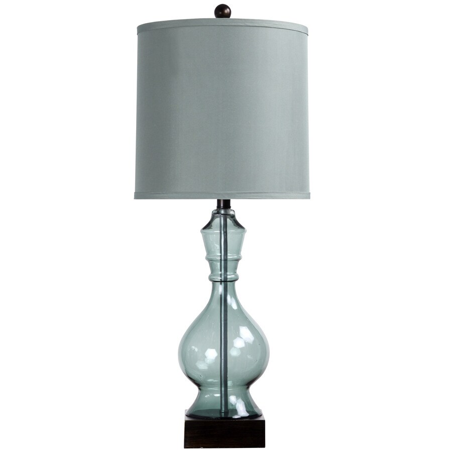 StyleCraft Home Collection 31-in Asteria Blue Standard 3-Way Switch Table Lamp with Fabric Shade