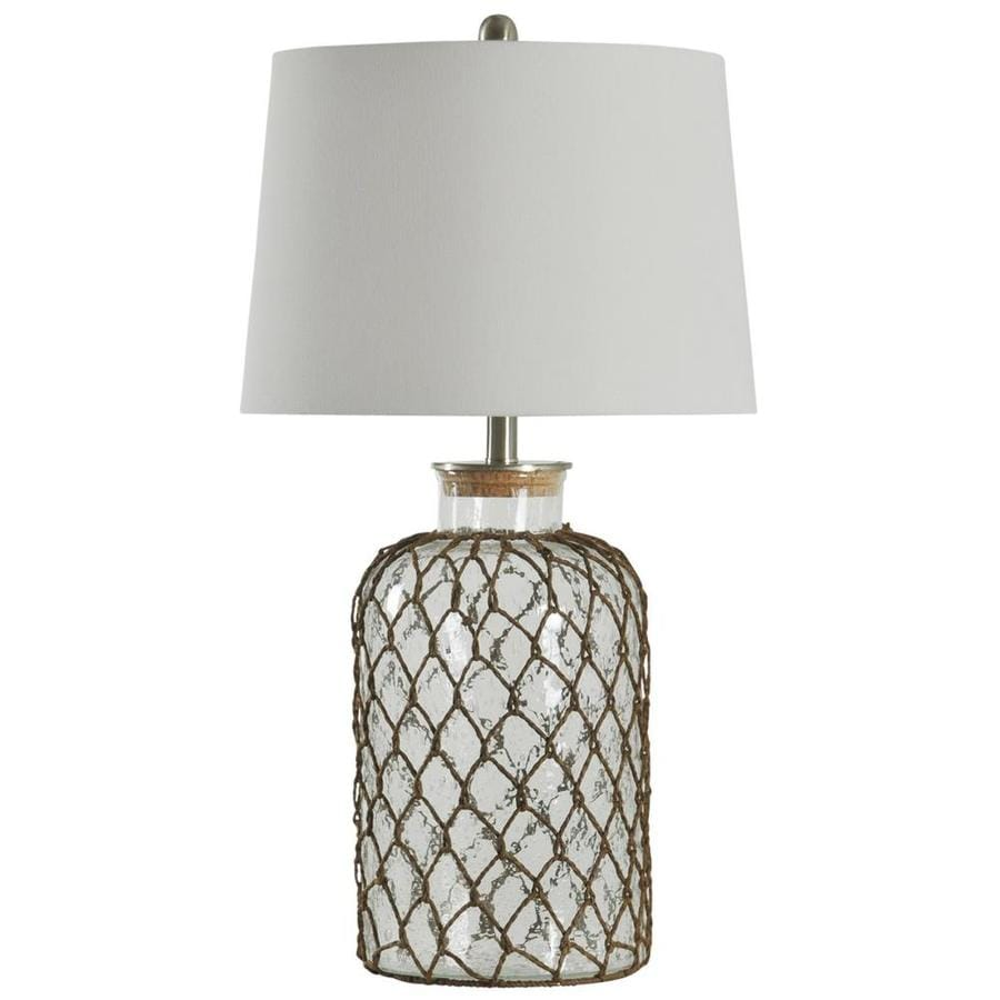 StyleCraft Home Collection 30.25-in Seeded Standard 3-Way Switch Table Lamp with Fabric Shade
