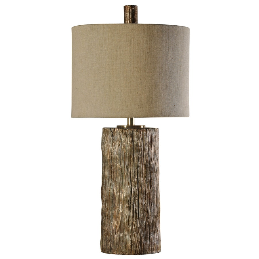 StyleCraft Home Collection 34-in 3-Way Bronze Oak Indoor Table Lamp with Fabric Shade