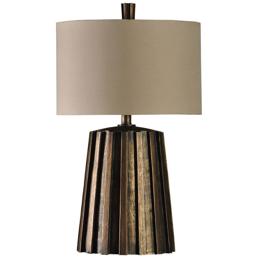 StyleCraft Home Collection 31-in 3-Way Woodhaven Indoor Table Lamp with Fabric Shade