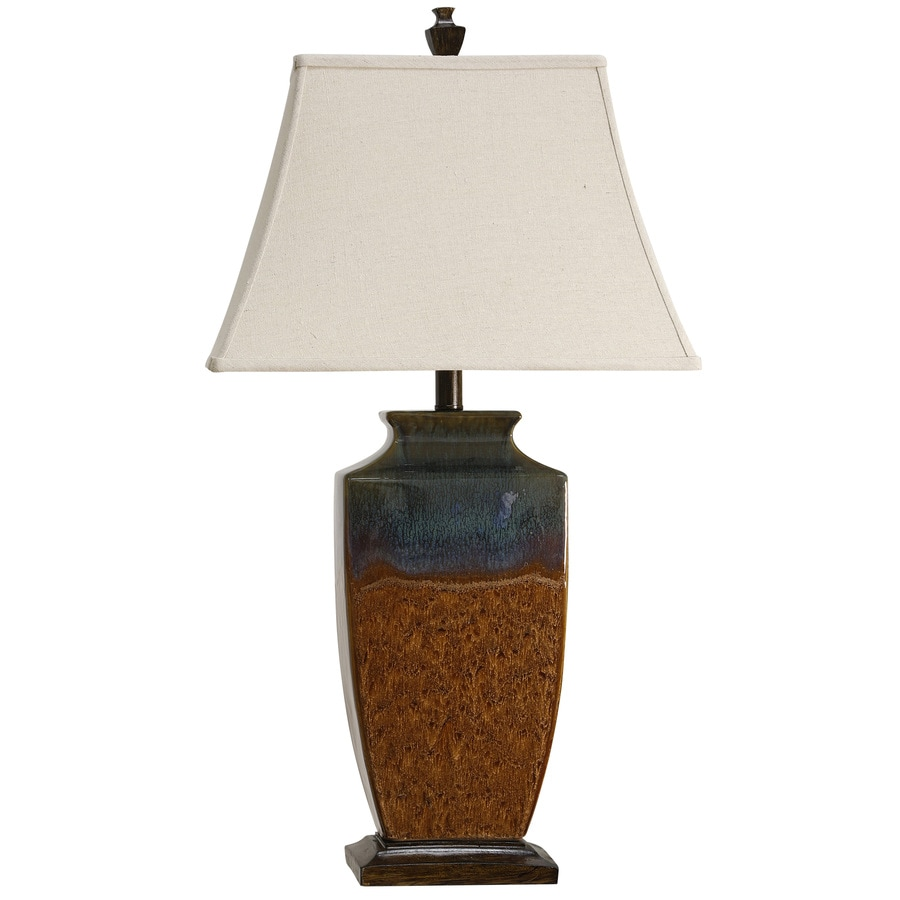 Shop table lamps at lowes stylecraft home collection 32 in varna standard 3 way switch table lamp with fabric geotapseo Images