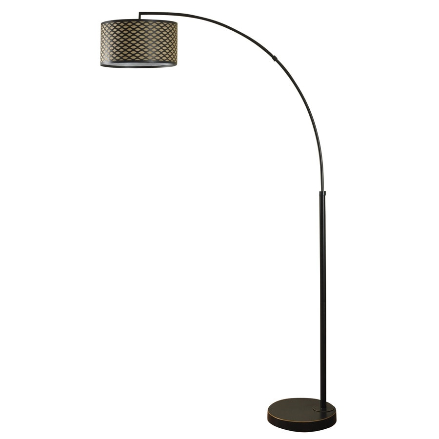 StyleCraft Home Collection 84.5-in Madison Bronze 3-Way Floor Lamp with Fabric Shade