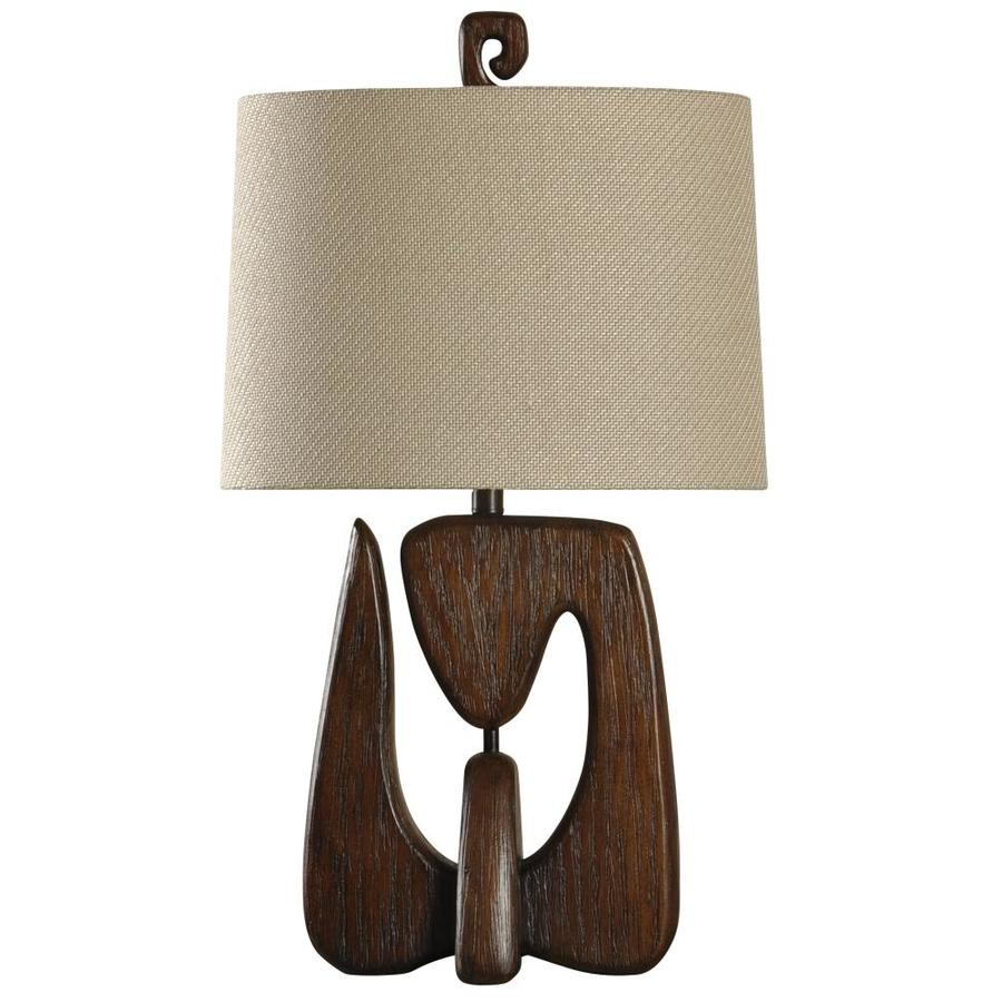 StyleCraft Home Collection 30 In Chestnut Standard 3 Way Switch Table Lamp  With Fabric