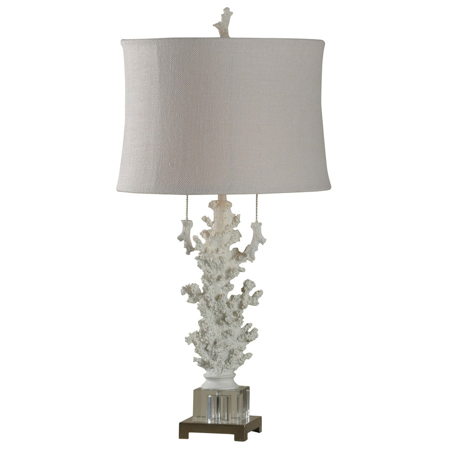 StyleCraft Home Collection 32-in 3-Way Switch Palm Harbor Indoor Table Lamp with Fabric Shade