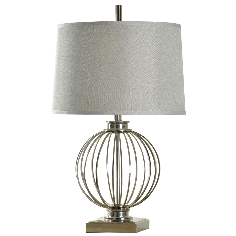 StyleCraft Home Collection 29-in 3-Way Polished Nickel Indoor Table Lamp with Fabric Shade