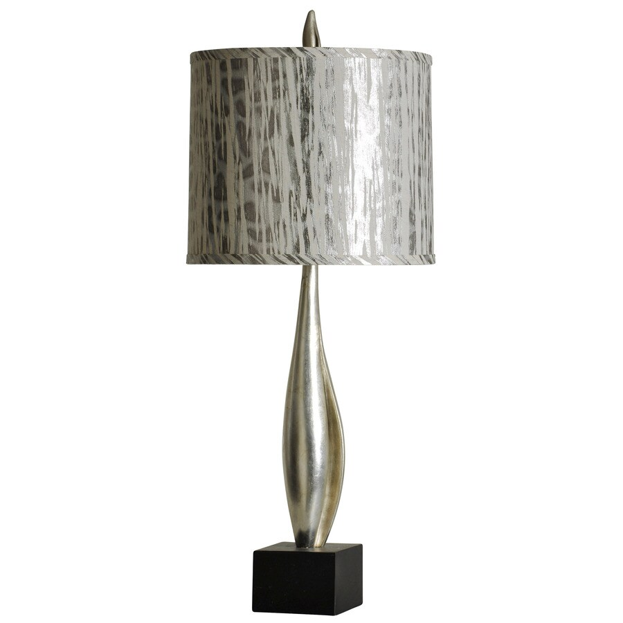 StyleCraft Home Collection 37-in Champagne Silver with Black Standard 3-Way Switch Table Lamp with Fabric Shade
