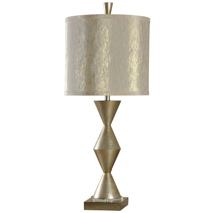 StyleCraft Home Collection 38-in 3-Way Georgian Champagne Indoor Table Lamp with Fabric Shade