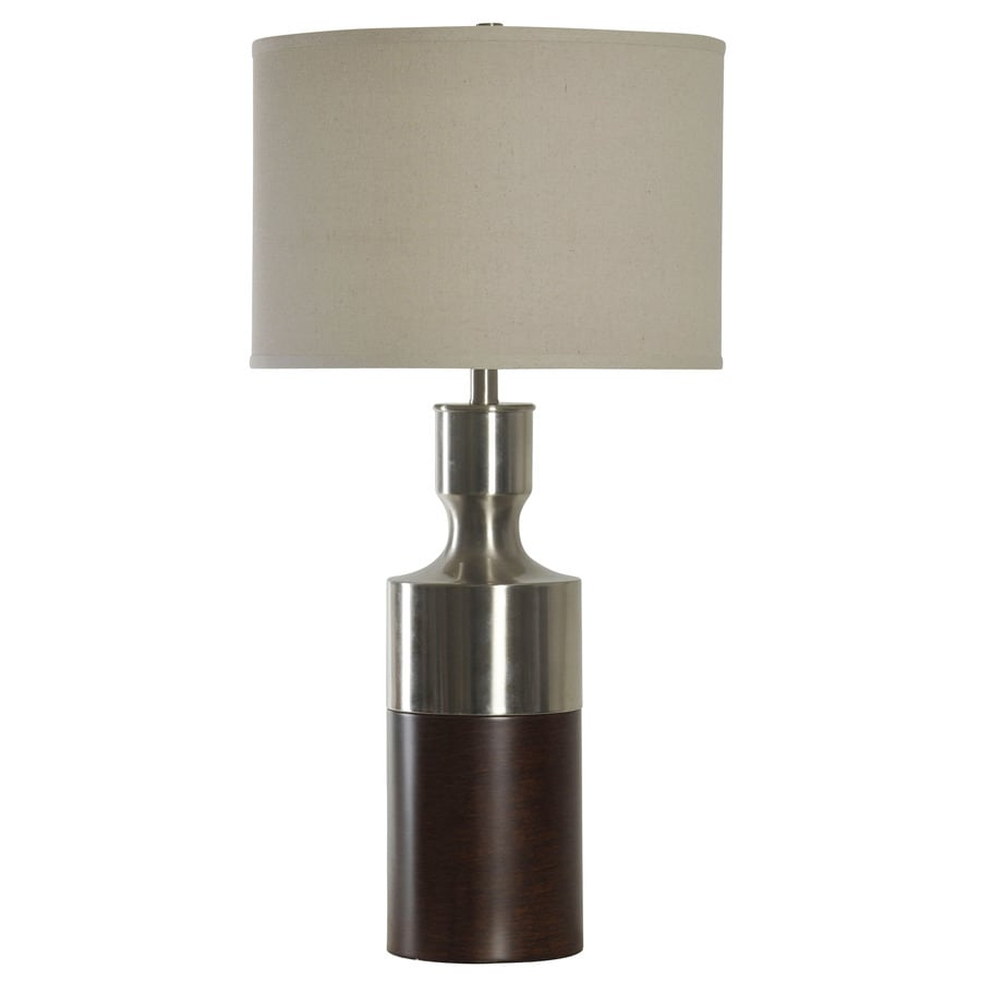 StyleCraft Home Collection 32-in 3-Way Brushed Steel with Bronze Indoor Table Lamp with Fabric Shade