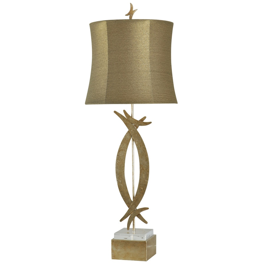StyleCraft Home Collection 40-in Vintage Gold Standard 3-Way Switch Table Lamp with Fabric Shade