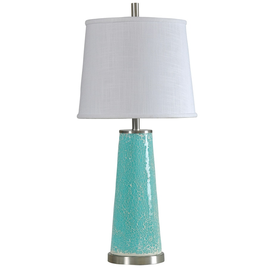 StyleCraft Home Collection 32-in Kissimmee Blue Standard 3-Way Switch Table Lamp with Fabric Shade