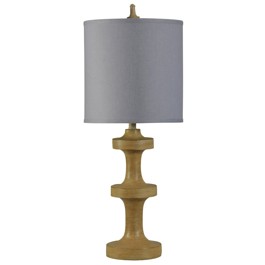 StyleCraft Home Collection 33-in Golden Pine Standard 3-Way Switch Table Lamp with Fabric Shade