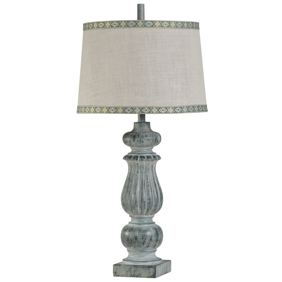 StyleCraft Home Collection 35-in 3-Way Greyson Navy Indoor Table Lamp with Fabric Shade